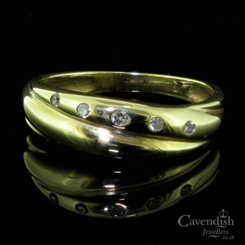 Contemprary Diamond Set Crossover Ring