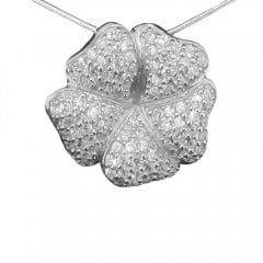 Cubic Zirconia Gardenia Pendant And Chain.