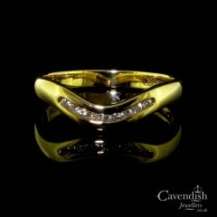 Curved 18ct Gold Diamond Half Hoop Ring