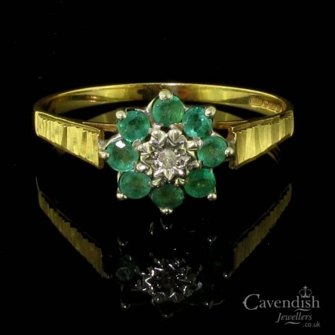 Dainty 9ct Gold Emerald And Diamond Cluster Ring