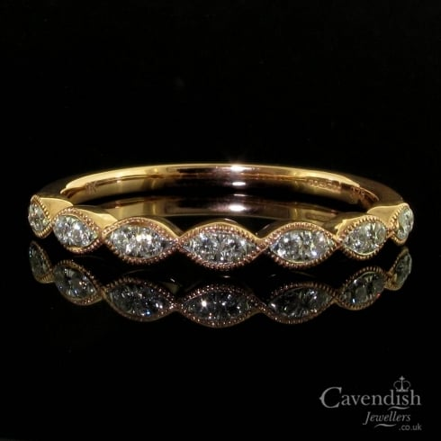 Dainty 9ct Rose Gold Diamond Marquise Shape Ring