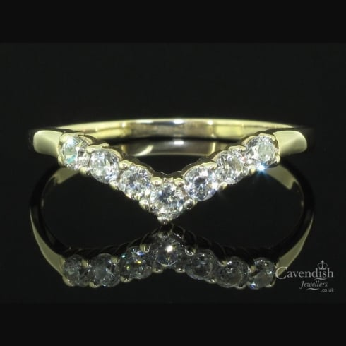 Dainty Gold Cubic Zirconia Wishbone Ring