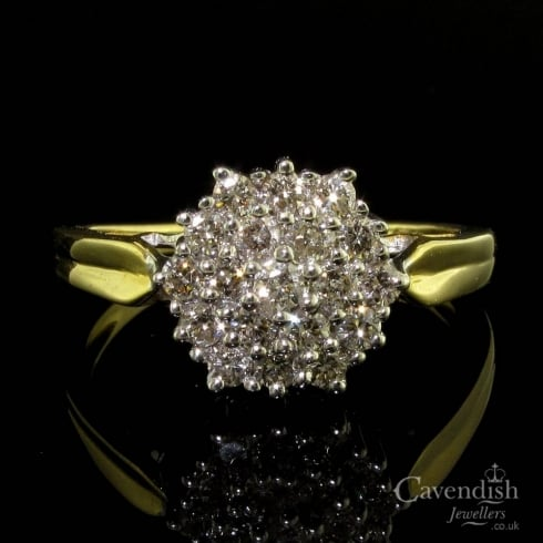 Dazzling 14ct Gold Diamond Cluster Ring