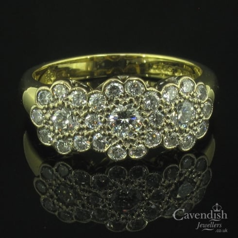 Dazzling 18ct Gold & Diamond Trilogy Cluster Ring