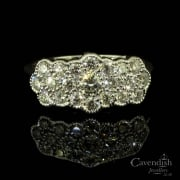 Dazzling 18ct White Gold Diamond Triple Flower Cluster Ring