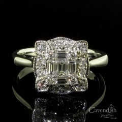 Dazzling 18ct White Gold Mixed Cut Diamond Cluster Ring