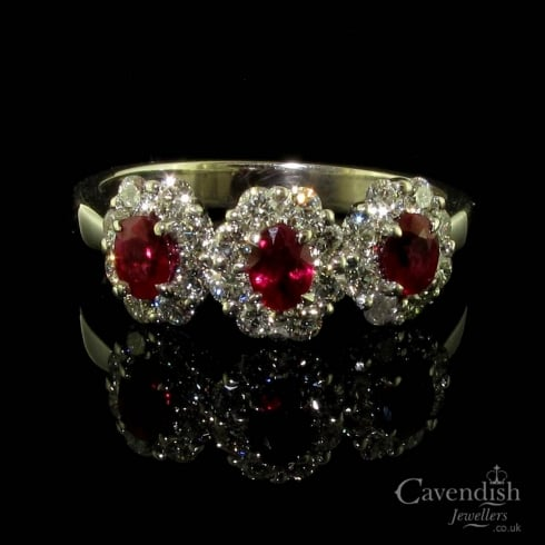 Dazzling 18ct White Gold Ruby & Diamond Triple Cluster Ring