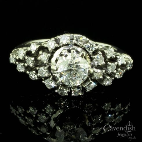 Dazzling 1950s 18ct White Gold Diamond Ring