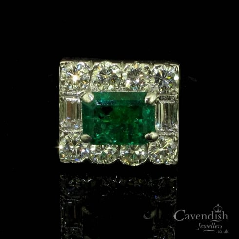 Dazzling Circa 1950's Emerald And Diamond Cluster Ring