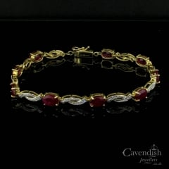 Dazzling Ruby And Diamond Crossover Bracelet