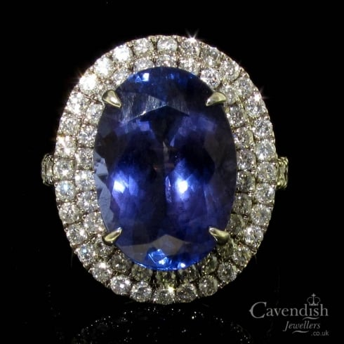 Dazzling Tanzanite and Diamond Cluster Ring