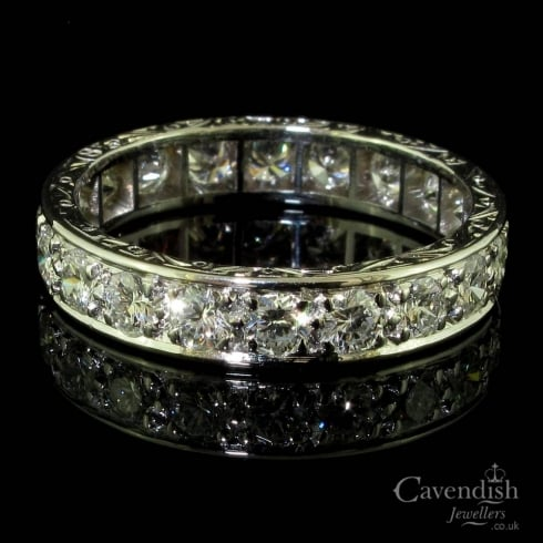 Dazzling White Gold And Diamond Full Eternity Ring Circa 1930