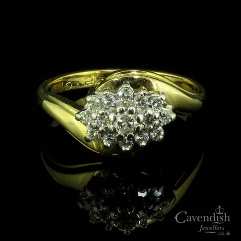 Dazzling Yellow Gold & Diamond Cluster Ring