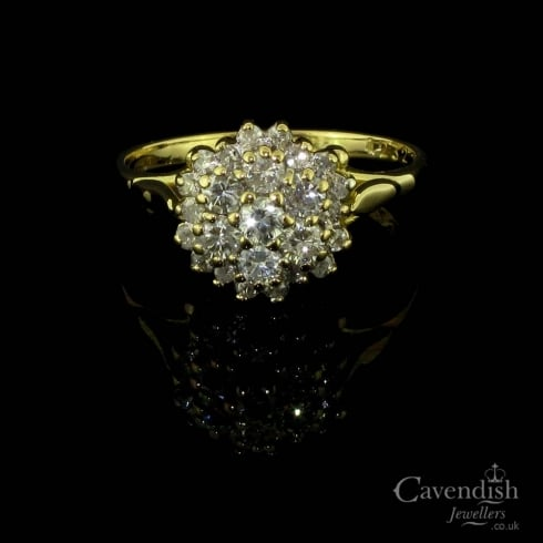 Dazzling Yellow Gold Diamond Cluster Ring