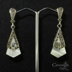 Deco-style silver, marcasite and mother of pearl drop earrings