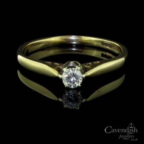 Delicate 9ct Gold And Diamond Solitaire Ring