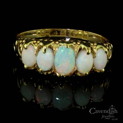 Delightful 15ct Gold And Opal 5 Stone Victorian Ring