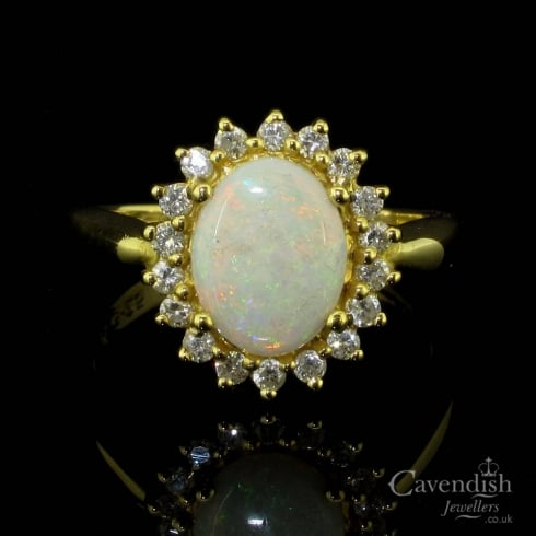Delightful 18ct Gold, Opal And Diamond Cluster Ring