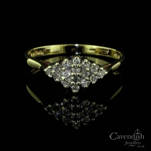 Delightful 9ct Gold and Diamond Cluster Ring