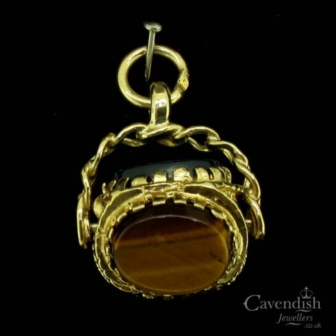 Delightful 9ct Gold Tigers Eye, Haematite and Agate Spinner Fob