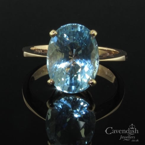 Delightful 9ct Rose Gold And Aquamarine Solitaire Ring