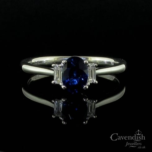 Delightful 9ct White Gold Sapphire & Diamond Trilogy Ring
