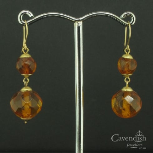 Delightful Faceted Amber Drop Earrings