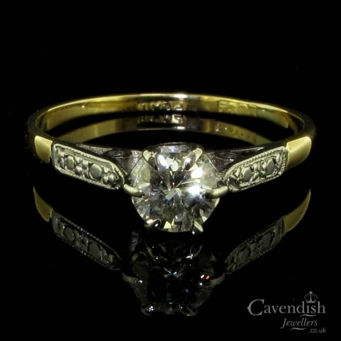 Delightful Gold And Platinum Set Diamond Solitaire Ring