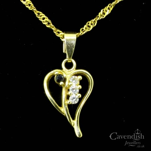 Delightful Gold Blue and White Sapphire Pendant Necklace