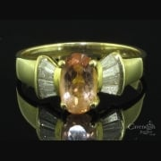 Delightful Gold Diamond and Golden Topaz Ring