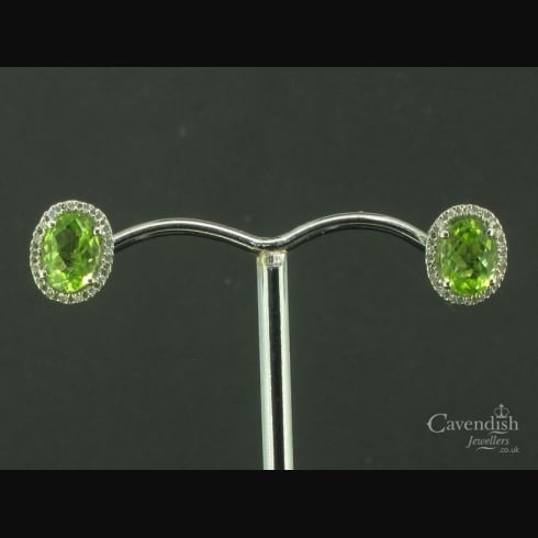 Delightful Peridot & Diamond Cluster Stud Earrings