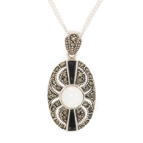 Delightful Silver Opal Onyx and Marcasite Pendant