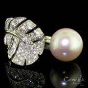 Designer Miu Miu 18ct White Gold Cultured Pearl & Diamond Ring