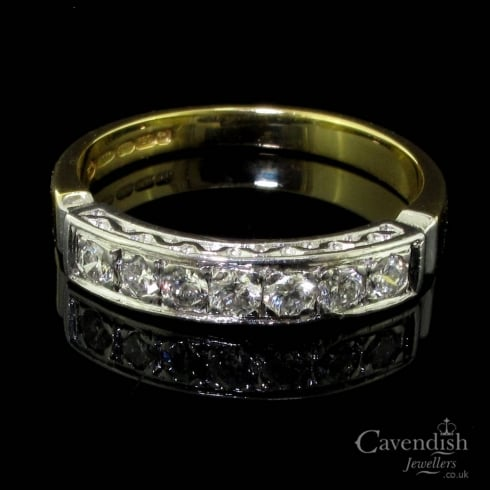 Desirable 18ct Gold And Diamond Half Hoop Ring