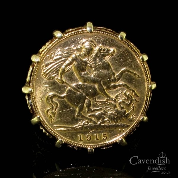 Desirable 9ct Gold Half Sovereign Ring Rings From Cavendish Jewellers Ltd Uk
