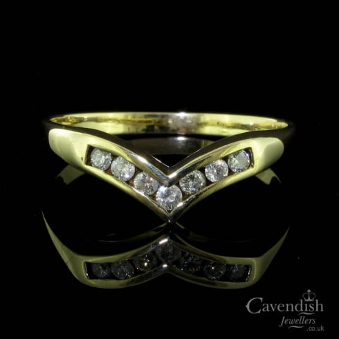 Desirable Diamond Channel Set Wishbone Ring