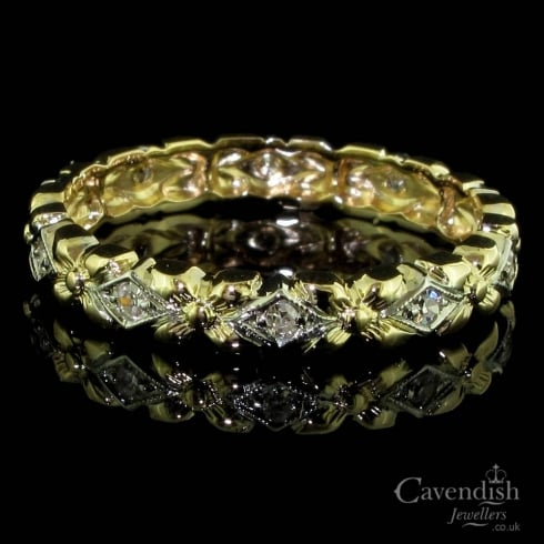 Desirable Diamond Set 2 Colour Full Eternity Ring Circa 1950