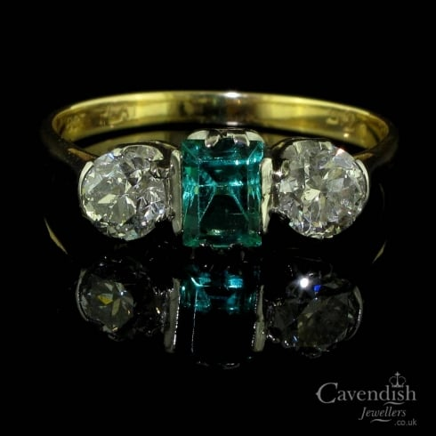 Desirable Gold Emerald and Diamond Trilogy Ring