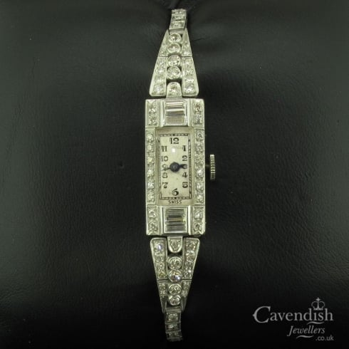 Desirable Platinum & Diamond Cocktail Watch