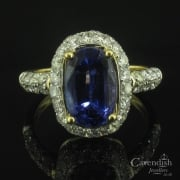 Desirable Yellow Gold, Tanzanite And Diamond Cluster Ring