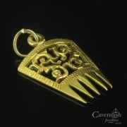 Detailed Yellow Gold Spanish Comb Charm