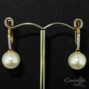 Diamond and Cultured Pearl Drop Earrings