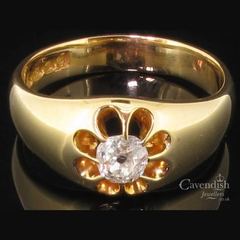 Distinctive 18ct Gold Old Cut Diamond Gents Victorian Ring