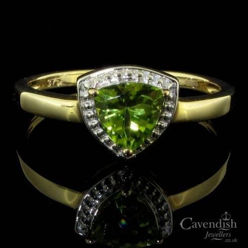 Distinctive 9ct Gold And Peridot Single Stone Ring