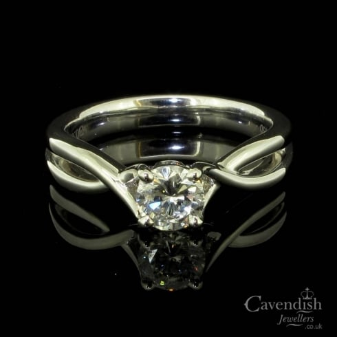 Distinctive Entwined Design Diamond Solitaire Ring
