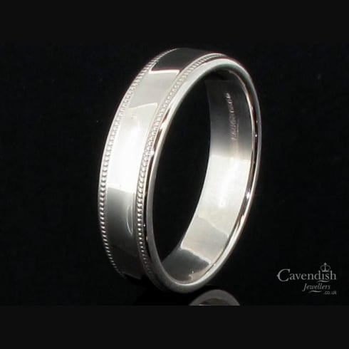 Distinguished 9ct White Gold Flat Court Millegrain Wedding Ring