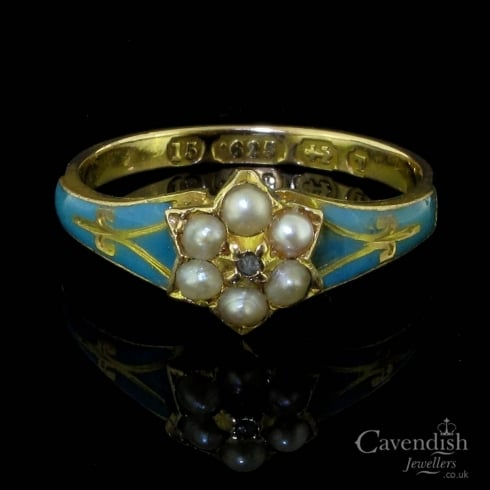 Divine 15ct Gold, Enamel, Seed Pearl And Diamond Cluster Ring