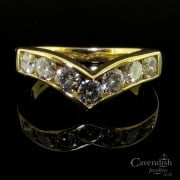 Divine 18ct gold & 7 Stone Diamond Wishbone Ring