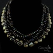 Divine Black And Grey Freshwater Pearl Five Strand Necklace