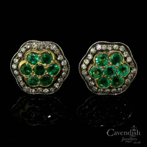 Divine Gold, Emerald And Diamond Floral Cluster Stud Earrings